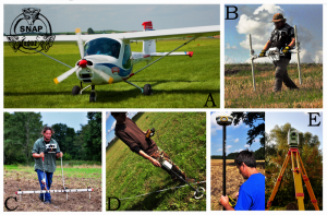 Non-destructive methods used between 2012-2014: A) Aerial prospection, B) Magnetic gradiometry, C) Earth resistance, D) Magnetic susceptibility, E)Geodetic measurements (laser tachymeter and RTK GPS)