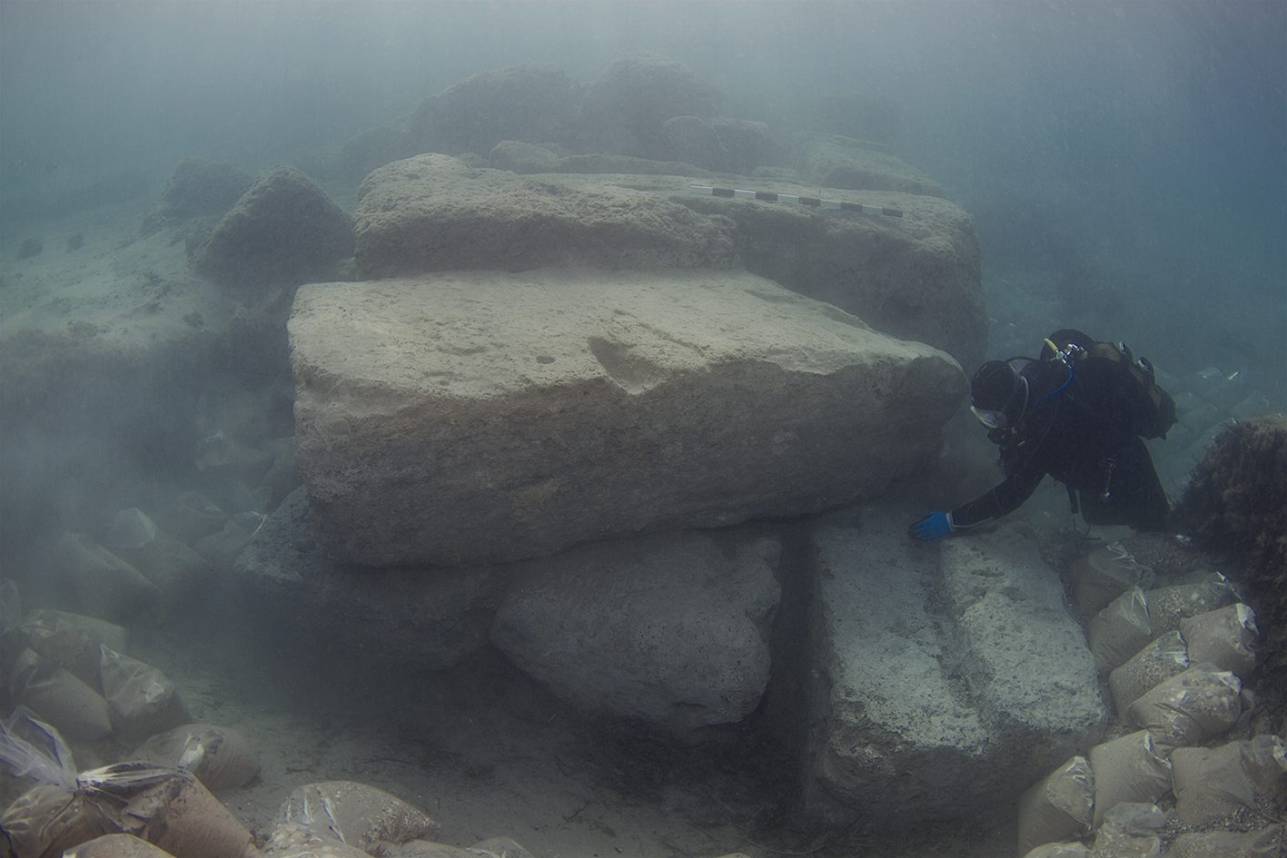 Sunken harbor found underwater in Greece