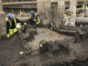 Excavations of the Roman building where the discovery was made (by Independent)