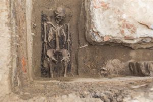 Skeleton with trepanation marks found in the ruins of the old parish church of St. Mary Magdalene (by Bartosz Jankowski)