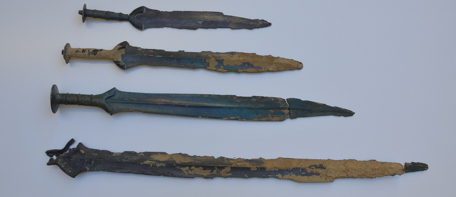 Four bronze swords found in the woods