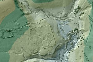 Visualisation of LiDAR data of Low Borrowbridge Roman fort (by gov.uk)