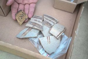 Shards of pottery found at the site (by the Jewish Press)