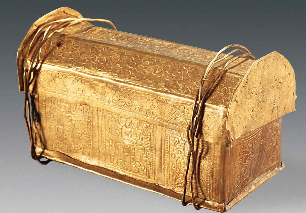 Gold casket might hold Buddha's skull fragment