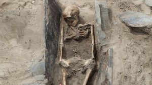 One of the skeletons found at the site (by BBC News)