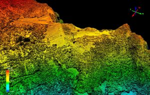 Digital model of the Airborne Laser Scanning data - visible terraces and architectural structures (by Andina)