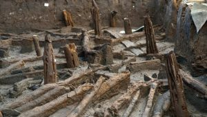 Stilts unearthed at the site (by BBC News)