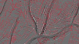 Interpretation of the LiDAR imagery with red lines marking prehistoric fields (by BBC News)