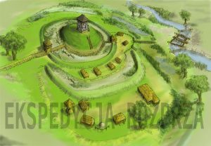 Reconstruction of the 14th century Rozprza ringfort (by Jerzy Sikora)
