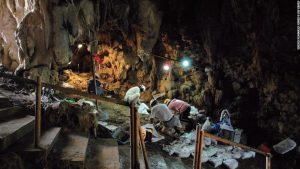 Excavation at Sakitari Cave (by CNN)