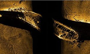 HMS Erebus on sonar (by The Guardian)