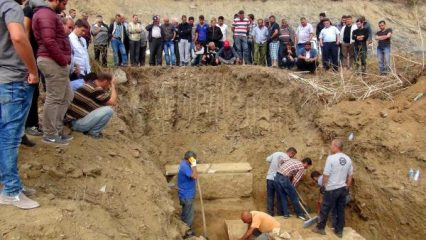 Broken pipe leads to discovery of ancient sarcophagi