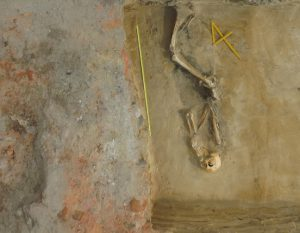 The individual discovered near the foundation wall (by Zofia Kowarska)