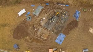 Aerial photo of the site of excavations (by The Canberra Times)
