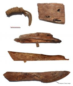 Remains of ancient boats and ropes found in the stone galleries (by Pierre Tallet via Haaretz)