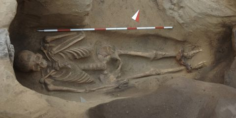 Etruscan burial of a shackled individual unearthed