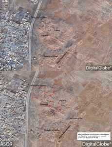 Satellite images of citadel and palace of Dur-Sharrukin before (top) and (bottom) after destruction by ISIS (by ASOR Cultural Heritage Initiatives)