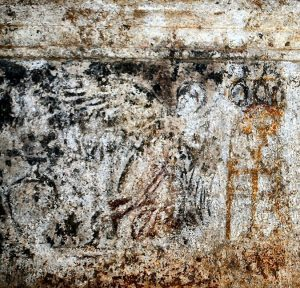 Painting from the burial chamber of a winged woman between an urn and a tripod (by Greek Reporter)