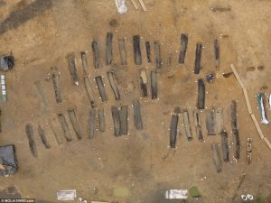 Aerial view of the cemetery  (by Museum of London Archaeology)