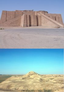 Nimrud ziggurat before (top) and after (bottom) destruction (by Wikimedia Commons and ASOR Cultural Heritage Initiatives)