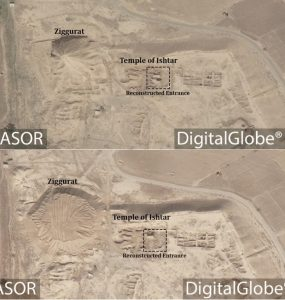 Satellite picture Nimrud's area before (top) and after (bottom) destruction (by ASOR Cultural Heritage Initiatives)