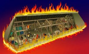 Reconstruction of a burning long house (by Jørgen Andersen via Science Nordic)