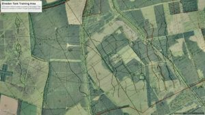 Map showing 20th century tank tracks overlaid onto a Google Earth map (by Eastern Daily Press)