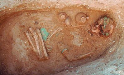 Burial of a female dressed in bronze jewellery for the afterlife