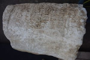 Statue base from 1,900 years ago found at Dor, bearing the name of Gargilius Antiquus (by Ehud Arkin Shalev via Haaretz)