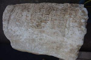 Statue base from 1,900 years ago found at Dor, bearing the name of Gargilius Antiquus (by Ehud Arkin Shalev via Haaretz)