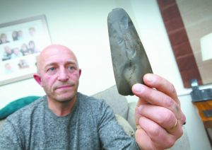 The finder with the Neolithic axe (by Mark WIlliamson via Stratford-upon-Avon)