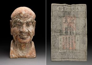 The wooden religious figure and Ming Dynasty banknote (by Mossgreen Auctions via Live Science)