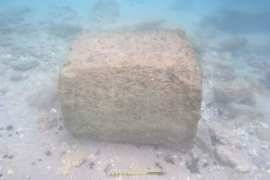 The inscription stone underwater (by Ehud Arkin Shalev via Haaretz)