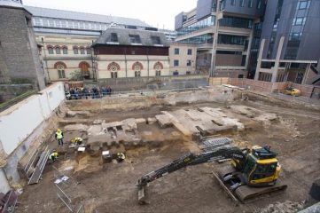 Remains of a Medieval friary with surrounding graves found
