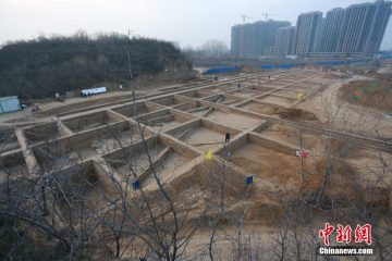 Ancient city gate unearthed in central China