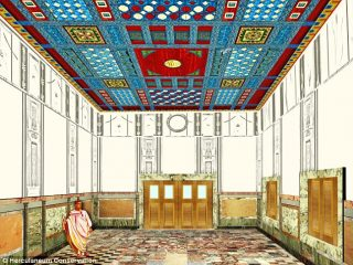 Reconstruction of a Herculaneum palace's ceiling destroyed 2000 years ago