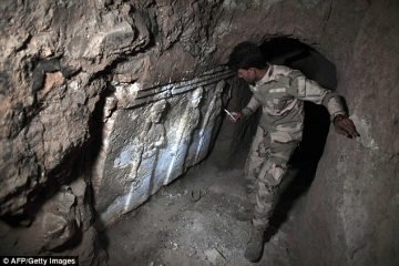 Assyrian sculptures in ISIS tunnels under devastated prophet's tomb