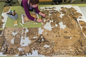 Dutch 17th cent. world map found stuffed up a chimney and restored