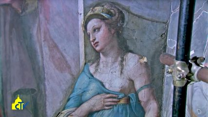 Two fresco figures identified as painted by Raphael