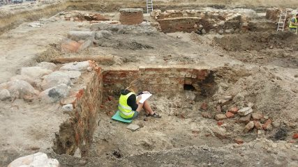 Remains of an unknown building found during town hall excavations