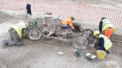 Remains of a MG roadster found within WW2 artillery position