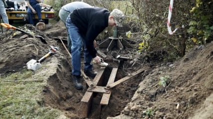 Base of a German WWII 75 mm cannon unearthed