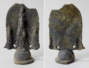 Bronze Buddha triad discovered by ancient pagoda temple