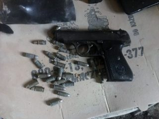 Pistol and ammunition found during construction