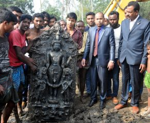 Stele of a Hindu deity unearthed