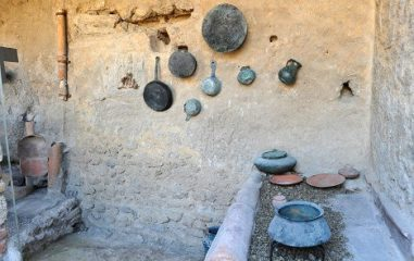 Restored ancient Roman kitchen on display in Pompeii