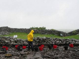 Stone fort of Caherconnell Cashel under archaeological investigation