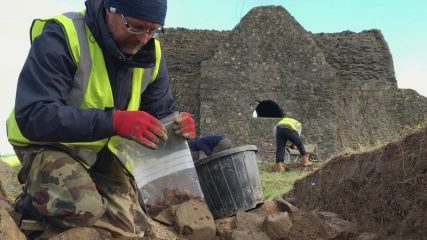Hellfire Club in the Dublin Mountains under excavation