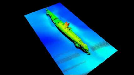 Undersea power line construction reveals an U-boat at Scottish shore