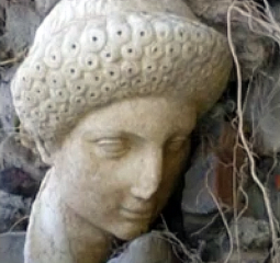 Head of a Roman sculpture revealed after a storm in Crete
